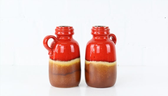 Set of 2 vintage vases ceramic jugs earthenware red Midcentury German pottery