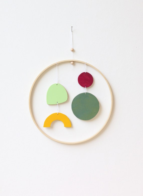 Mobilé wooden abstract modern simple shapes wooden ring 20 cm x colorful wallhanging wallart