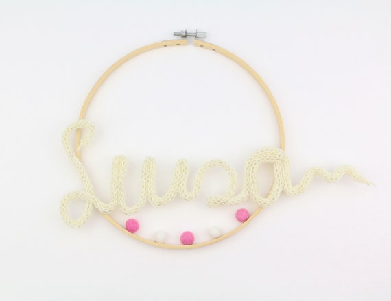 personalizable dream catcher name circle with felt balls gift idea for birth baptism wall hanging macrame boho baby room interior