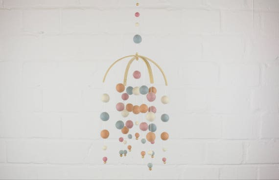 "Handmade Mobilé ""Motley children's happiness"" merino wool hanging decoration baby Mobilé from colorful balls customizable diy bed sky"