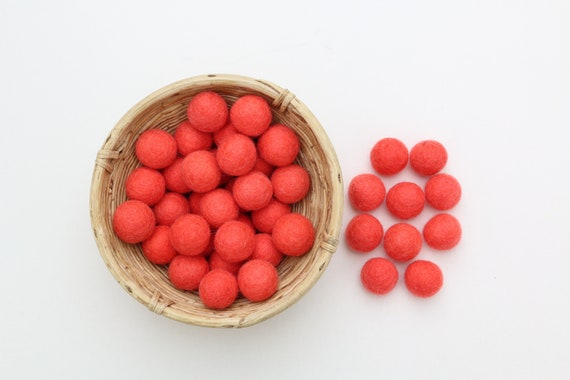 Coral-colored felt balls for crafting #14 felt balls decoration pom poms versch. Colors Felt Balls Garlands Decoration Colorful