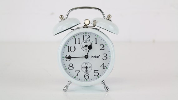 White vintage Mebus bell alarm clock retro alarm clock clean chic white bedroom accessoire