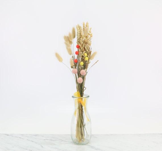 Arrangement of dried flowers bouquet combination with felt craspedia natural boho bouquet scandi decoration gift idea