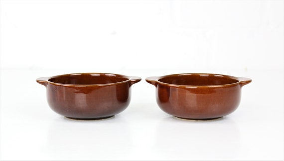Set 2 vintage Melitta Bowl brown Melitta West Germany retro Pottery set of two brown vintage bowls Seventies style Skandi interior