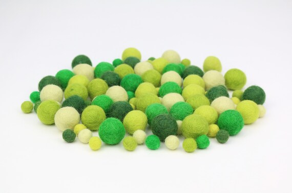 "Felt Balls Color Mix ""Green"" - 100 pcs. felt balls 2.5 cm + 1 cm colormix colorful decoration Pom Poms Colors Mix Garlands Decoration"