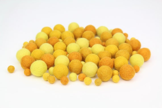 "Felt Balls Color Mix ""Yellow"" - 100 pcs. felt balls 2.5 cm + 1 cm colormix colorful decoration Pom Poms Colors Mix Garlands Decoration"