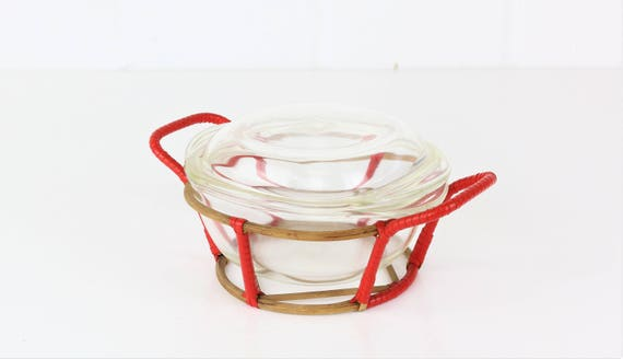 Rare Schott Glass Midcentury 70 er years of baking mould with lid in holder seventies glass