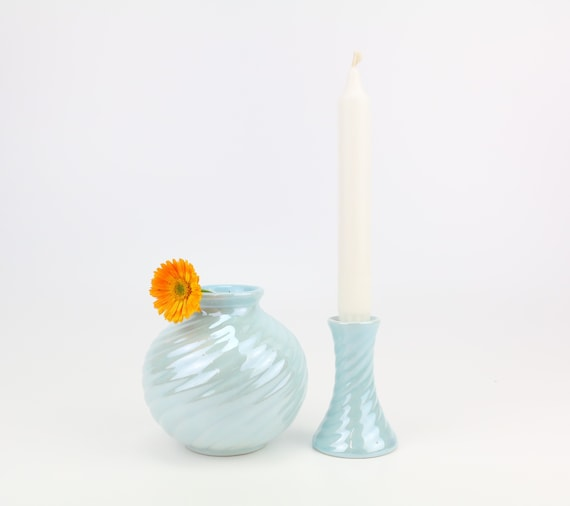 vintage decoset candlestick & vase in porcelain in light blue with pearl mutine