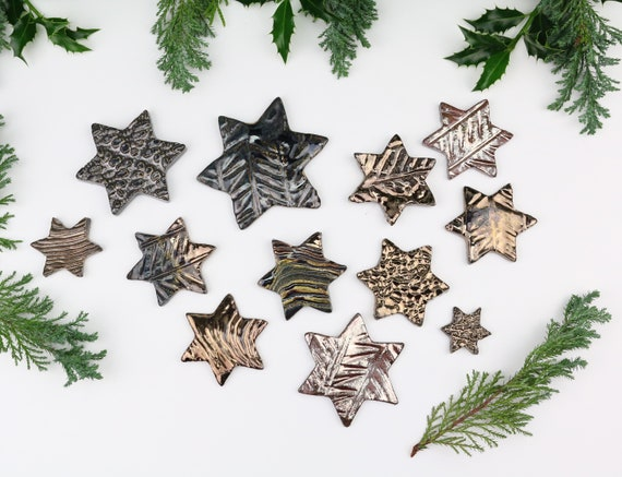 Christmas decoration large set potted stars Christmas decorations made of clay table decoration gift pendant ceramic Beautiful for home Advent wreath