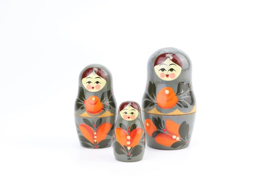 colorful Matryoshka Matroyshka Babushka doll doll 3 pieces