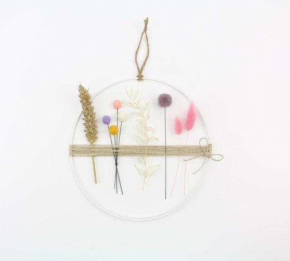 Dry flower wreath flower ring with felt balls & pom poms metal ring 20 cm window wreath macrame wall decoration spring wreath Lagurus wheat Ruscus