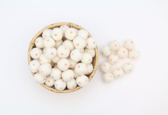 white / pastel pink polka dot felt balls for crafting felt balls with dots decoration Pom Poms Felt Balls Garlands Decoration colorful