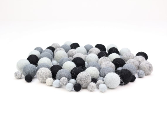 "Felt Balls Color Mix ""Grey-Black"" - 100 pcs. felt balls 2.5 cm + 1 cm colormix colorful decoration Pom Poms colors Garlands Decoration"