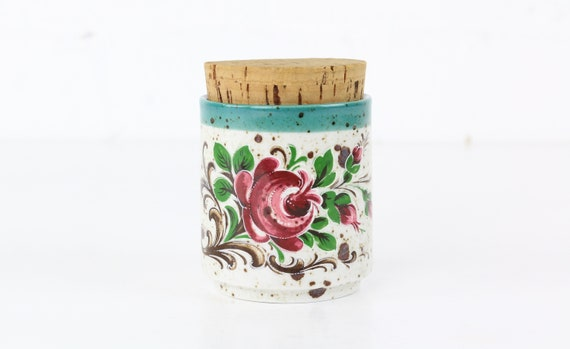 Floral painted ceramic can with cork Midcentury modern design antique ceramics