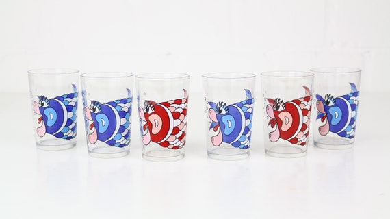 Set vintage drinking glasses with fish motif 6 pieces red & blue retro glasses vintage drinking glasses fish print red Blue mint Midcentury Modern