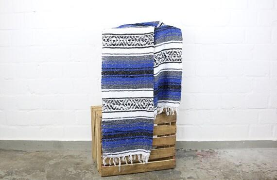 solide gewebte Navajo Decke aus Mexiko Sarape 180 x 70 cm blau Yogadecke Picknickdecke Stranddecke summer blanket picnic beach life blue