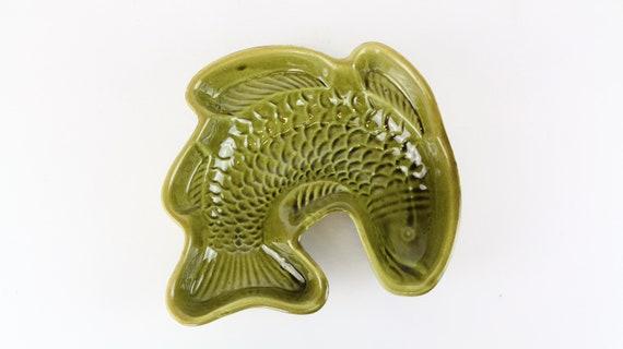 """grüne, vintage Keramik Schale in Fischform """"modern kitchen"""""""