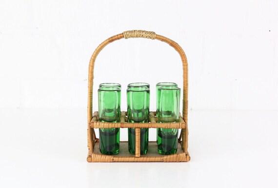 Set of 6 solid green liqueur glasses in basket frame rattan mid century modern design vintage urban jungle style shot glasses rattan basket