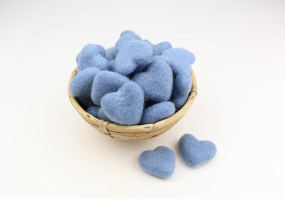 light blue hearts made of felt for crafting #30 decoration Pom Poms versch. Colors Felt Hearts Garlands Decoration Colorful