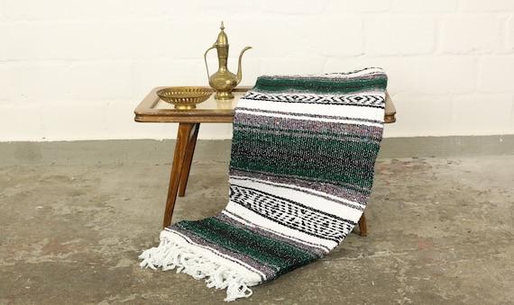 """große gewebte Decke aus Mexiko 180 x 130 cm dunkelgrün """"Falsa"""" Hot Rod Harley Stranddecke Jogadecke Picknickdecke Mexican Navajo blanket"""