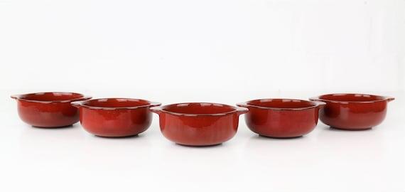 "Set vintage Melitta ""Ceracron"" bowl 5 pcs red Melitta coffee West Germany retro pottery red Vintage bowl seventies Skandi interior"
