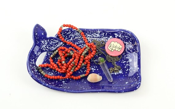 "Small handmade Walschale ""whale"" jewelry store jewelry bowl Ceramic Blue 12 cm"