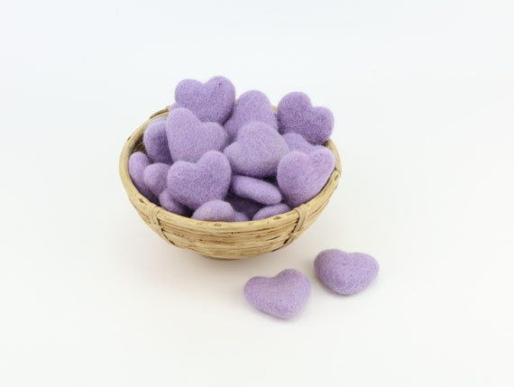 pale lilac hearts made of felt for crafting #25 decoration Pom Poms versch. Colors Felt Hearts Garlands Decoration colorful