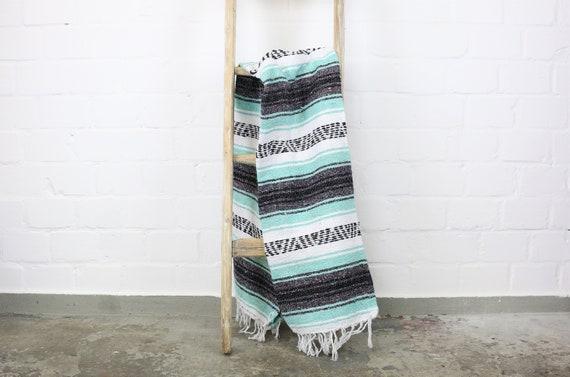 """große gewebte Decke aus Mexiko 180 x 130 cm mintgrün """"Falsa"""" Hot Rod Harley Stranddecke Jogadecke Picknickdecke Mexican Navajo blanket"""