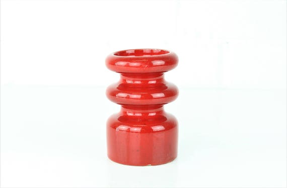 Candle holder Red Ceramic Earthenware candle stand german pottery red velvet candle Holders
