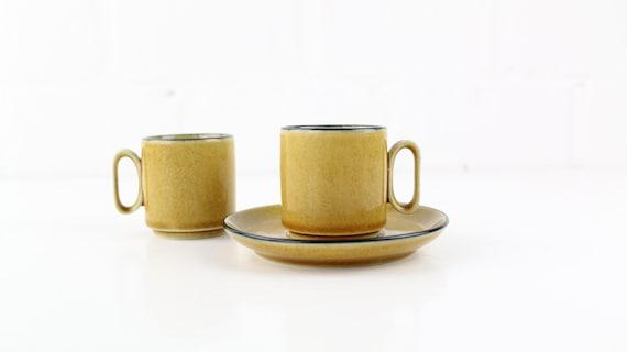 vintage Espressotassen Set 2 Stck. Steingut in capuccino braun