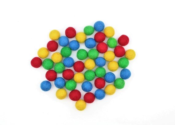 "colorful felt balls color mix ""basic colors"" - 50 o. 100 pcs. felt balls 2.5 cm colormix colorful decoration Pom Poms colors Mix Garlands Decoration"