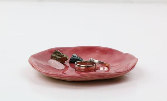 """Boho Ring bowl """"rings and things"""" jewelry storage jewelry Bowl Ceramic Berry d 12 cm"""