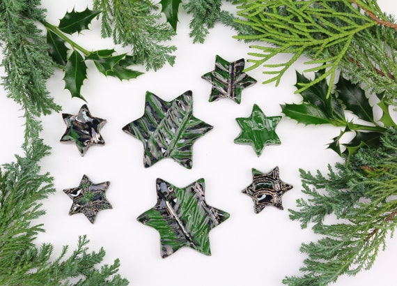 Christmas decoration large set potted stars Christmas decorations made of clay table decoration beautiful gift tags ceramic green Advent wreath
