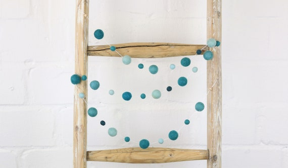 Garland from felt balls in shades of blue about 1.45 m length Pom Pom garland garland nursery