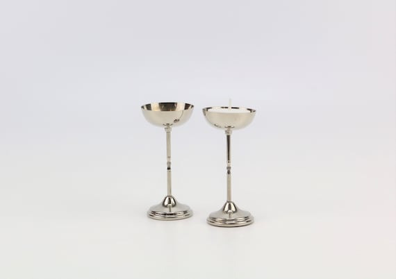 Set of 2 silver-plated vintage candlesticks with patina boho wedding table decoration candlestick candleholder bohemian silver candle holder
