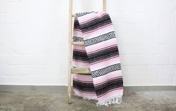 solide gewebte Navajo Decke aus Mexiko Sarape 180 x 130 cm rosa