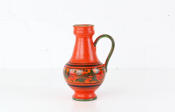 Vintage vase jug Pottery red midcentury vase German pottery