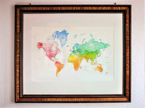World map watercolor handmade (106 x 78 cm) world map, handmade watercolor