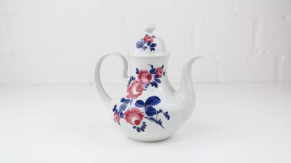 Vintage koppenhagen tea or coffee pot floral pattern German retro pottery