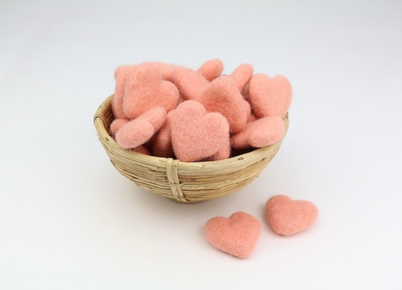 pastel pink hearts made of felt for crafting #15 decoration pom poms versch. Colors Felt Hearts Garlands Decoration Colorful