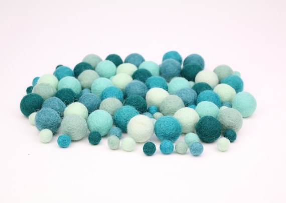 "Felt Balls Color Mix ""turquoise"" - 100 pcs. felt balls 2.5 cm + 1 cm colormix colorful decoration Pom Poms colors Mix Garlands Decoration"