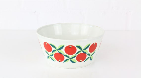 Trio Karlovy Vary z Czech Republic bowl with retro print antique pottery hand Painted