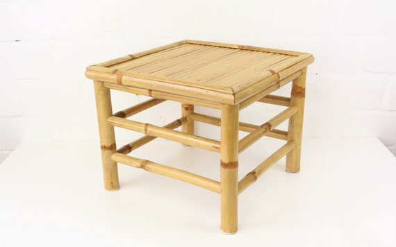 Vintage occasional table Night cabinet from rattan & basket antique Bamboo Table