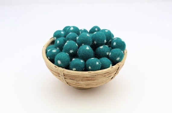 petrol Green / White Polka Dot Felt Balls for Crafting Felt Balls with Dots Decoration Pom Poms Felt Balls Garlands Decoration Colorful