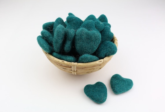 petrol green hearts made of felt for crafting #31 decoration Pom Poms versch. Colors Felt Hearts Garlands Decoration Colorful