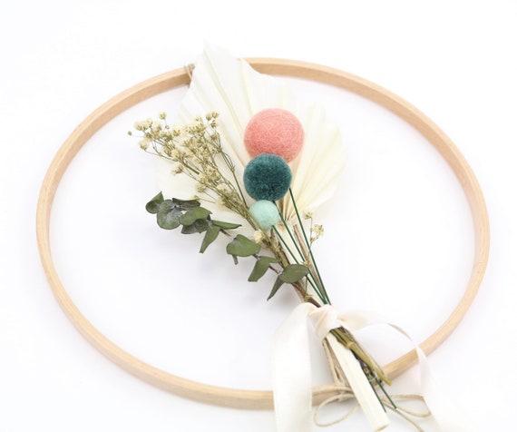 Dry flower wreath flower ring felt balls & pom poms wooden ring window wreath D 20 wall decoration spring wreath veiled weed palm leaf eucalyptus
