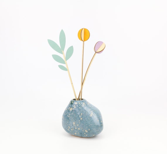 Craft Kit with 3 Wooden Flowers DIY Set Branch and Flowers for Self Painting 3D Plugflowers Deco Table Decoration Spring Creative Set Dry Flowers