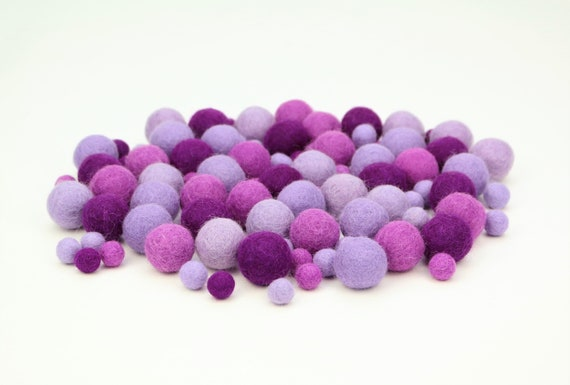 "Felt Balls Color Mix ""Purple"" - 100 pcs. felt balls 2.5 cm + 1 cm colormix colorful decoration Pom Poms Colors Mix Garlands Decoration"