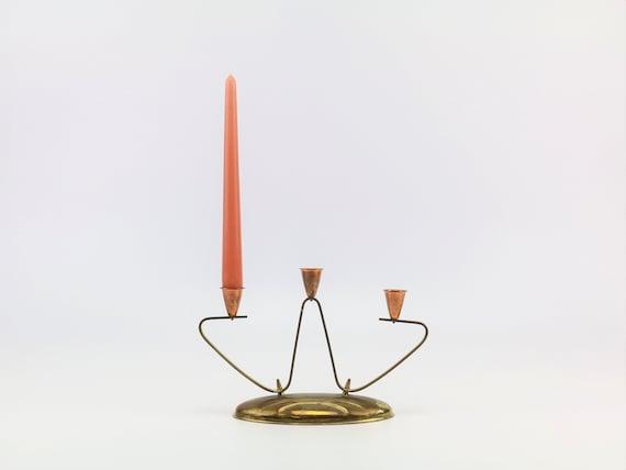 vintage candlestick candelabra 3 flaming brass boho wedding table decoration candlestick candleholder candle holder Bauhaus brass candle holder