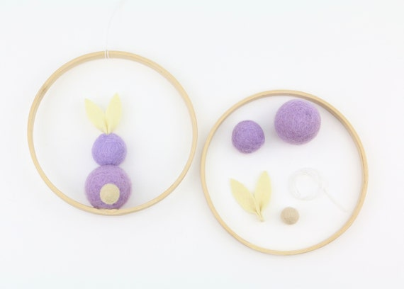 DIY Set Customizable Easter Decoration Easter Bunny in Ring DIY Craft Kit Colorful Spring Decoration Window Decoration Custom Gift Craft Set